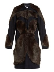 Raey Tiger Shearling And Wool Coat Navy Multi