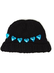 Wool And The Gang Knitted Heart Beanie Hat Black