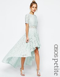 Asos Petite Salon Lace Dip Back Prom Midi Dress Green