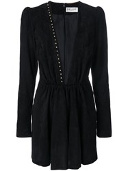 Saint Laurent Plunge Mini Dress Women Silk Lamb Nubuck Leather Zamac 36 Black