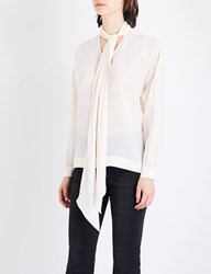 Moandco. Tie Neck Silk Crepe Blouse Lamb's Wool
