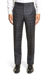 Men's Big And Tall Di Milano Uomo Flat Front Plaid Wool Trousers Blue