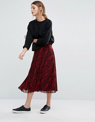 New Look Snake Print Pleated Midi Skirt Red Pattern