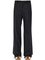 Lanvin Striped Loose Wool Blend Trousers Navy