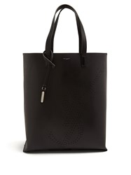 Saint Laurent Shopping Perforated Logo Leather Tote Bag Black