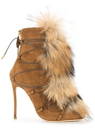 Dsquared2 Faux Fur Embellished Boots Brown