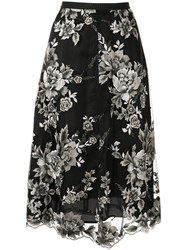 Antonio Marras Floral Embroidered Skirt Black
