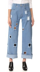 Rejina Pyo Mia Jeans Blue Denim With Cutout Holes