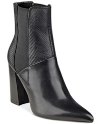 Guess Women's Breki Pointed Toe Booties Women's Shoes Black Leather
