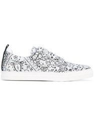 Pierre Hardy Printed Sneakers Men Leather Rubber 40 White