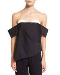 Tibi Agathe Layered Off The Shoulder Corset Top Black Multi