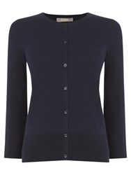 Oasis 3 4 Sleeve Crew Neck Cardigan Navy