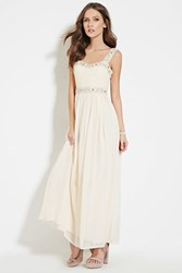 Forever 21 Beaded Maxi Dress Blush Silver