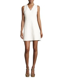 Rebecca Taylor Sleeveless V Neck Tweed Mini Dress White