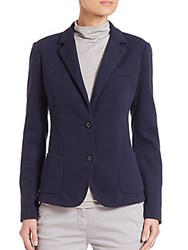 Eleventy Knit Single Breasted Blazer Blue