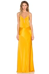 Mason By Michelle Mason V Neck Gown Yellow
