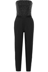 Alice Olivia Jeri Embellished Crepe De Chine Jumpsuit Black