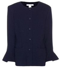 Oscar De La Renta Wool Blend Jacket Blue