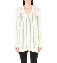 The Kooples Open Knit Cotton Blend Cardigan Off White