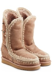 Mou Eskimo Wedge Tall Sheepskin Boots With Embroidery Camel