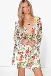 Boohoo Lara Long Flute Sleeve Floral Dress Ivory