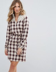 Deby Debo Valis Checked Shirt Dress Marron Red