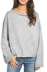 Treasure And Bond Women's Slouchy Fleece Pullover Grey Heather