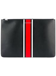 Givenchy Stripe Detail Iconic Pouch Women Calf Leather One Size Black