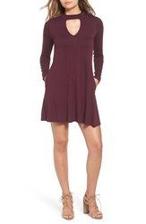 Socialite Women's Mock Neck Knit Shift Dress Eggplant