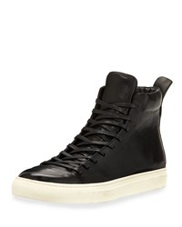 John Varvatos 315 Reed Leather Mid Top Sneaker Black