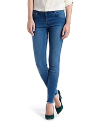 Ted Baker Shenzii Raw Hem Skinny Jeans In Mid Wash
