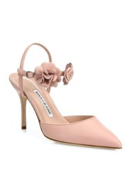 Manolo Blahnik Volvonapla Flower Leather Ankle Strap Pumps Pink