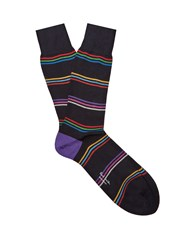 Paul Smith Striped Cotton Blend Socks Navy Multi