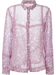Giamba Sheer Floral Shirt Pink And Purple