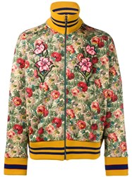 Gucci Floral Print Zip Jacket Yellow