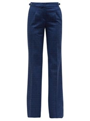 Gabriela Hearst Torres Checked Flannel Trousers Blue Multi