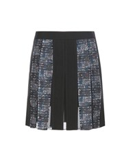 Diane Von Furstenberg Maison Pleated Crepe And Tweed Miniskirt Black