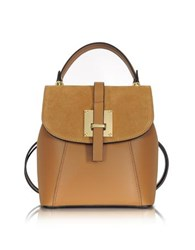 Le Parmentier Camel Suede And Leather Small Backpack