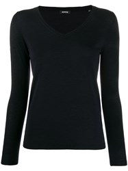 Aspesi Fine Knit V Neck Jumper Blue