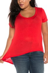 Slink Jeans Plus Size Women's High Low Scoop Neck Tee Red