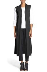 Women's Eileen Fisher Lightweight Merino Knit Maxi Vest Black