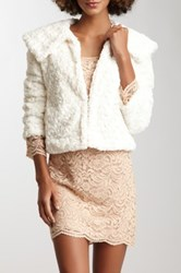 Fever Long Sleeve Poodle Faux Fur Jacket White