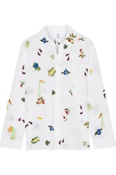 Rosie Assoulin Salad Bar Embroidered Cotton Voile Shirt White