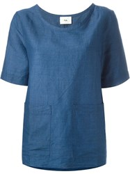 Folk Front Pocket Boxy Top Blue