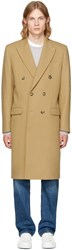 Editions M.R Tan Double Breasted Wool Overcoat