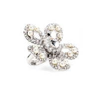 Miu Miu Crystal And Faux Pearl Flower Ring Cream Cristal