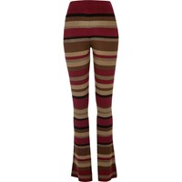 River Island Womens Red Stripe Ribbed Flare Trousers