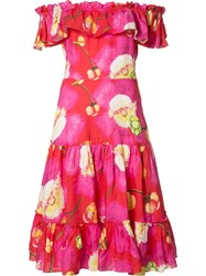 Isolda Floral Print Flared Dress Pink Purple