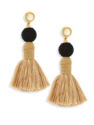 Lizzie Fortunato Modern Craft Ii Mother Of Pearl And Linen Tassel Earrings Gold Multi