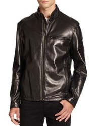 Cole Haan Lambskin Leather Moto Jacket Black